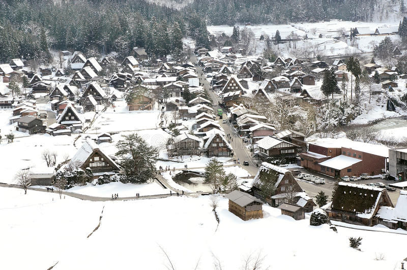 Winter Shirakawago with Snowfall Gifu Chubu Japan royalty free stock photo