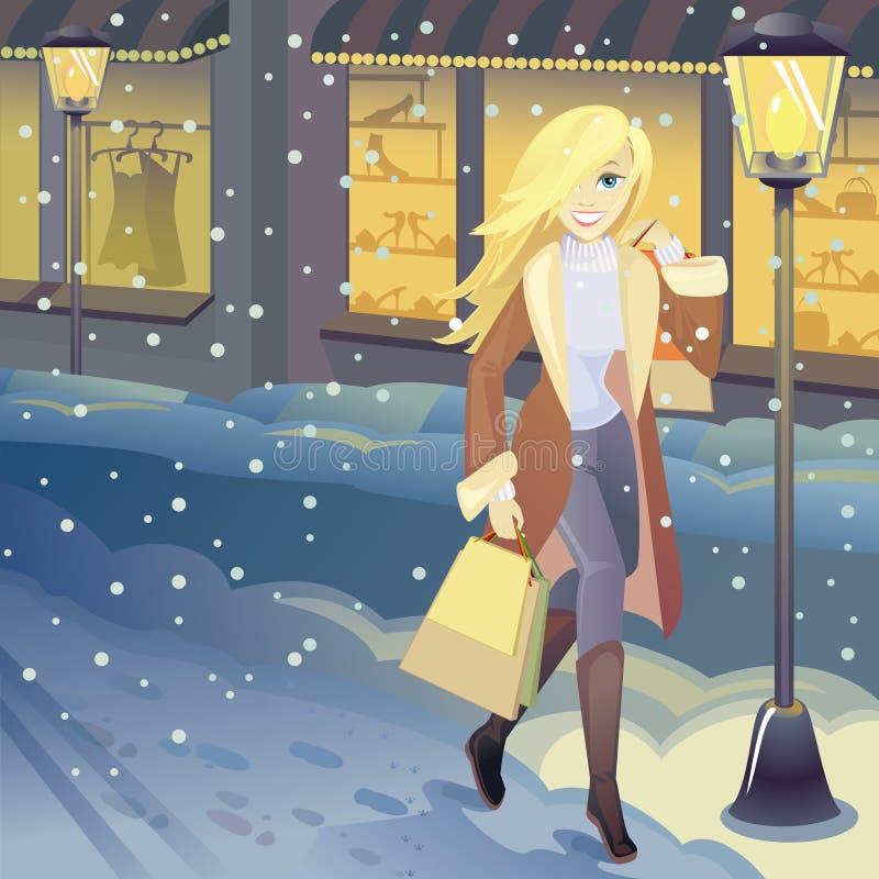 Winter shopping stock illustration