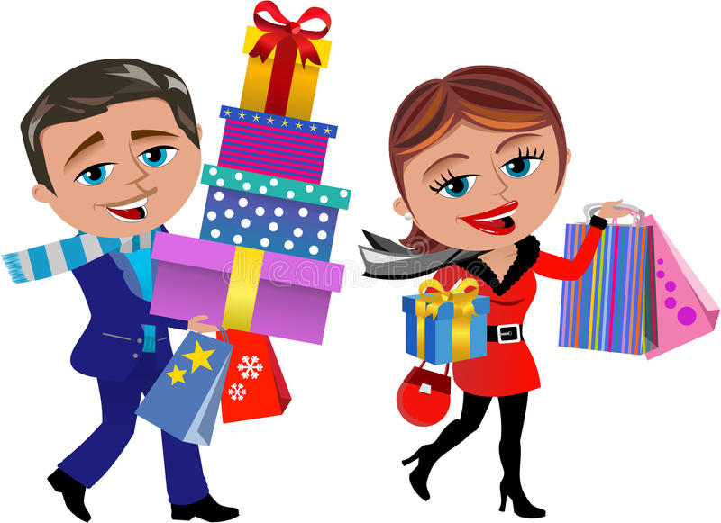 Winter Shopping. Illustration featuring Bob and Meg doing shopping in winter o Christmas season isolated on white background. Eps file is available. You can find