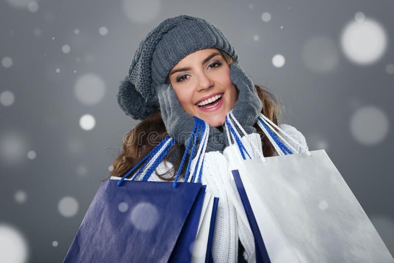 Winter shopping stock image