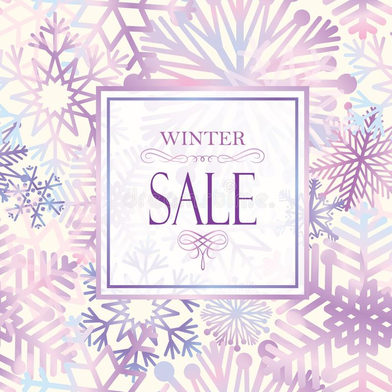 Winter shopping sale banner with lettering. Snow frame background. Holiday sale with snowflakes over white background vector illustration