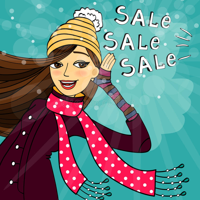 Download Winter shopping sale stock image. Image of female, cute - 35646951