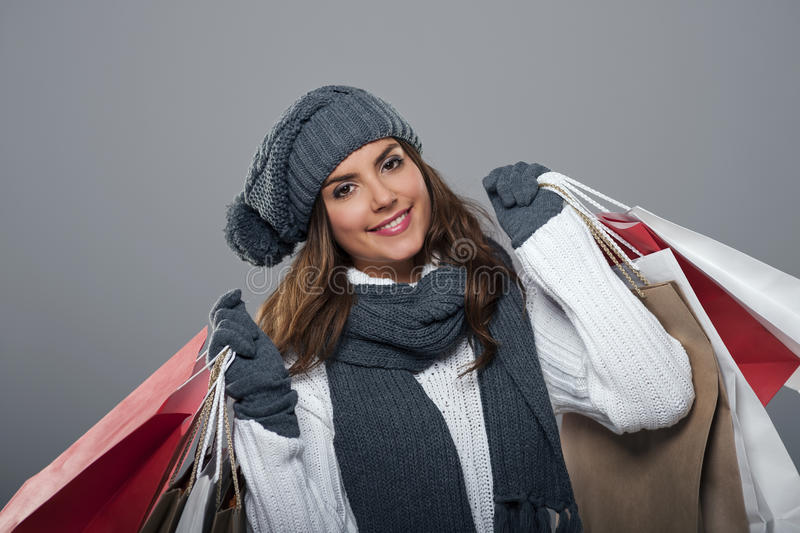 Winter shopping royalty free stock images