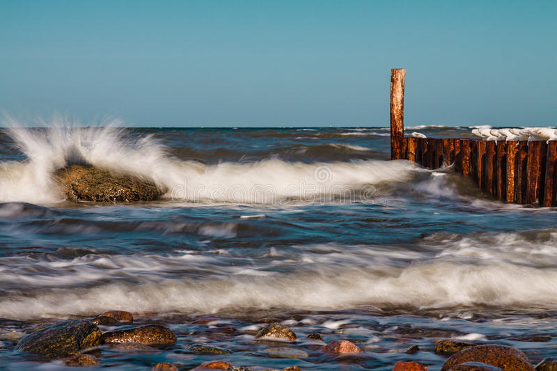 Download Winter on shore stock photo. Image of breakwater, blue - 25951514
