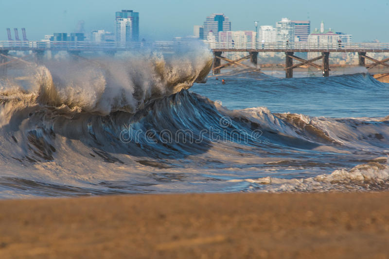 WInter Shorebreak in Seal BEach, California. WInter Storm Bashes the shore of Seal BEach, CA stock photography