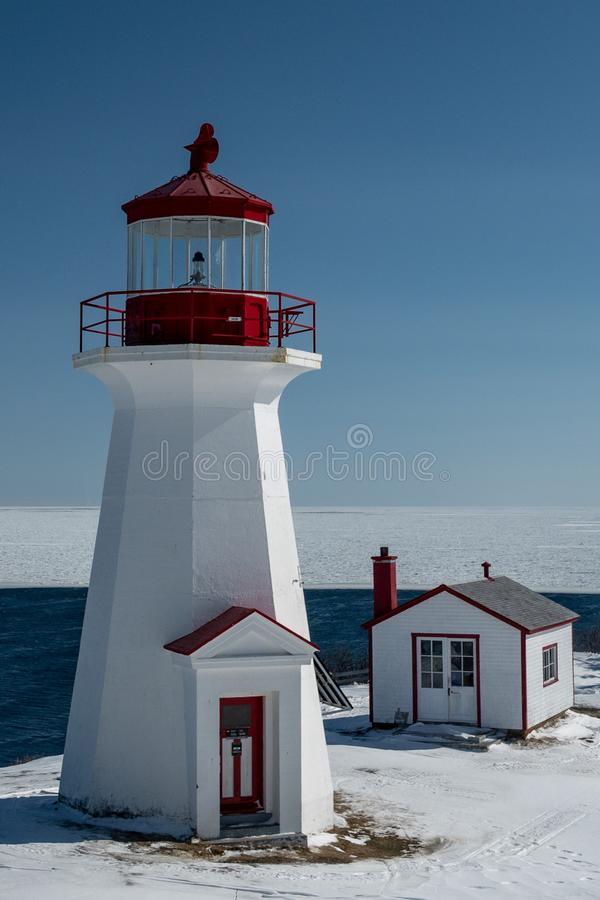 Winter shot of the Cap Gaspe lighthouse. Winter shot of the Cap Gaspe lighthouse with the frozen Gulf of St-Lawrence in the background stock image