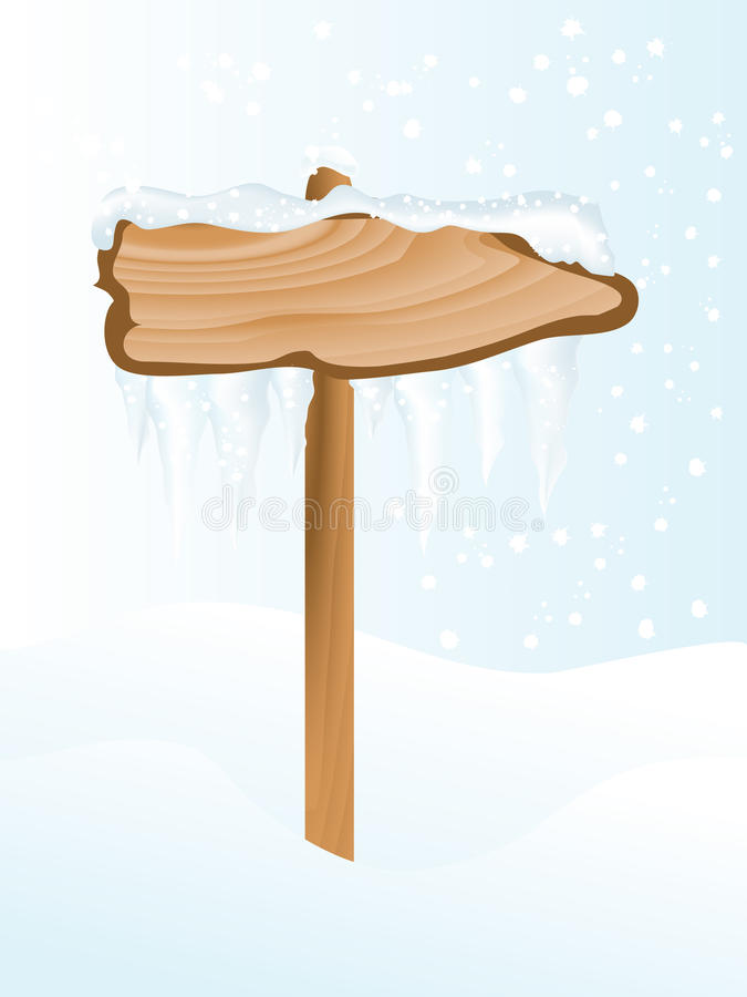 Winter signpost. Snowy wooden signpost with icicles stock illustration