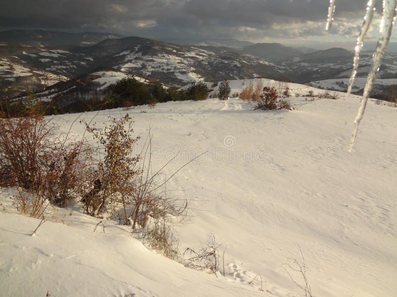 Winter in Sjenica, Serbien stockbild