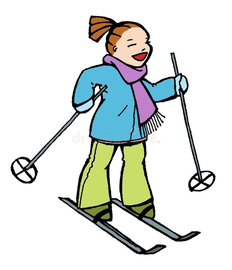 Winter ski. Funny girl make ski in winter vector illustration