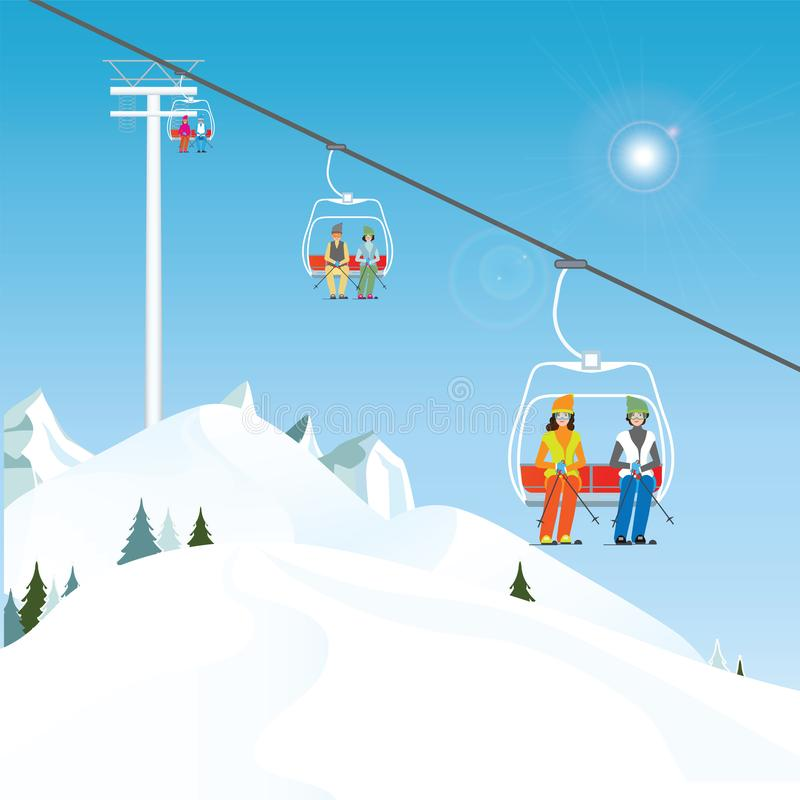 Winter ski resort with skiers on a ski-lift. stock illustration