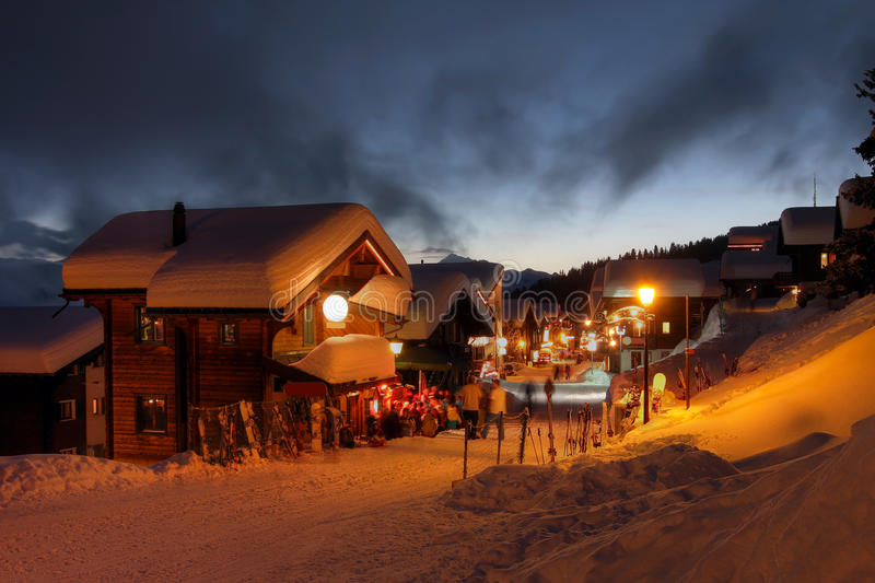 Winter ski resort in Switzerland. Winter night scene in Bettmeralp, Switzerland, a beautiful ski resort in the Alps royalty free stock photo