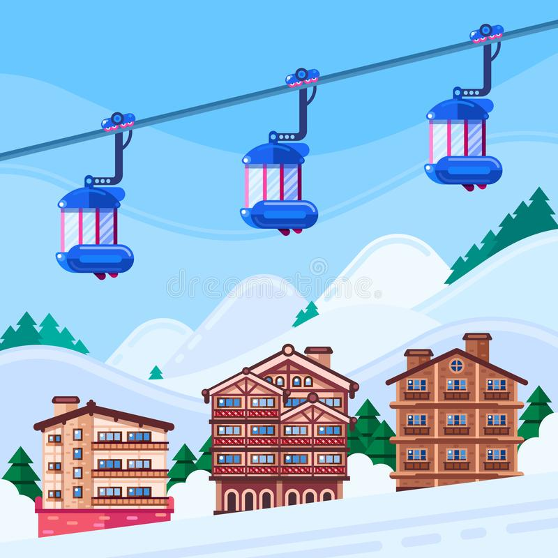 Winter ski resort vector illustration. Wooden hotels houses, snow mountains landscape and funicular cabins. Winter holiday and vacation royalty free illustration