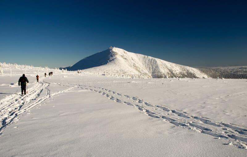 Winter skiing trek royalty free stock photography