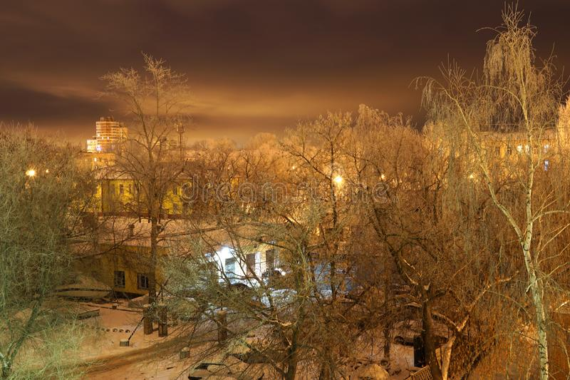Winter in the city. Night snowbound city royalty free stock photo