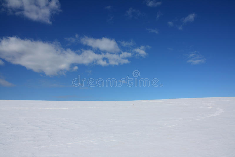 Winter Sky Horizon Snow And Clouds Stock Photo