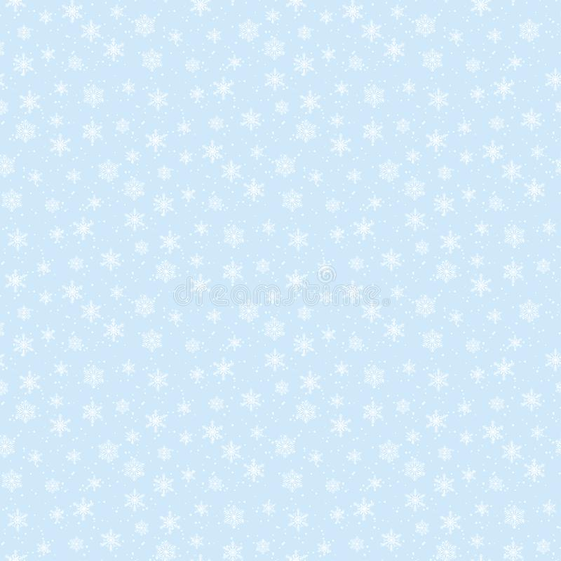 Winter sky print- cute vector seamless pattern with soft snowflakes on blue snowy heaven background royalty free illustration