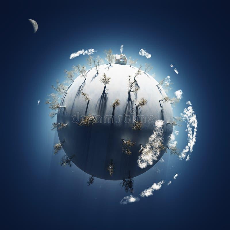 Winter on small planet stock illustration