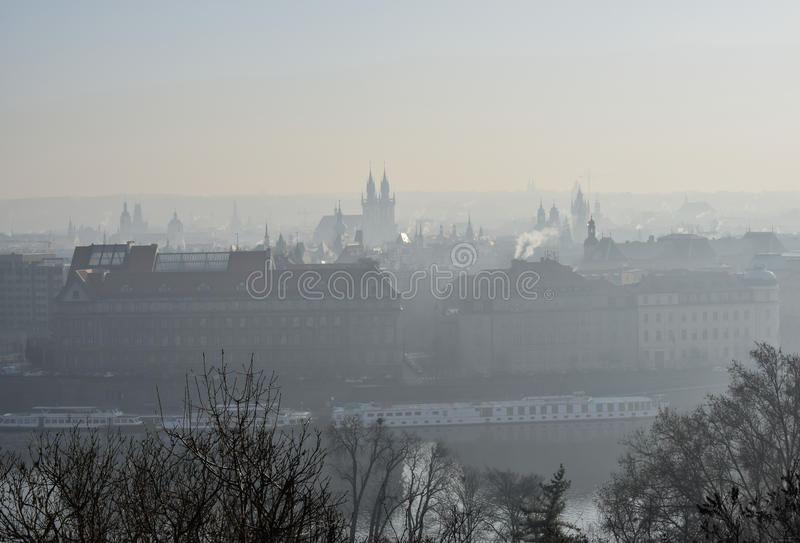 Winter smog over the city stock image