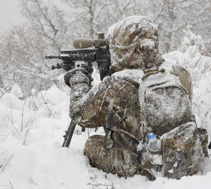 Winter sniper royalty free stock photos