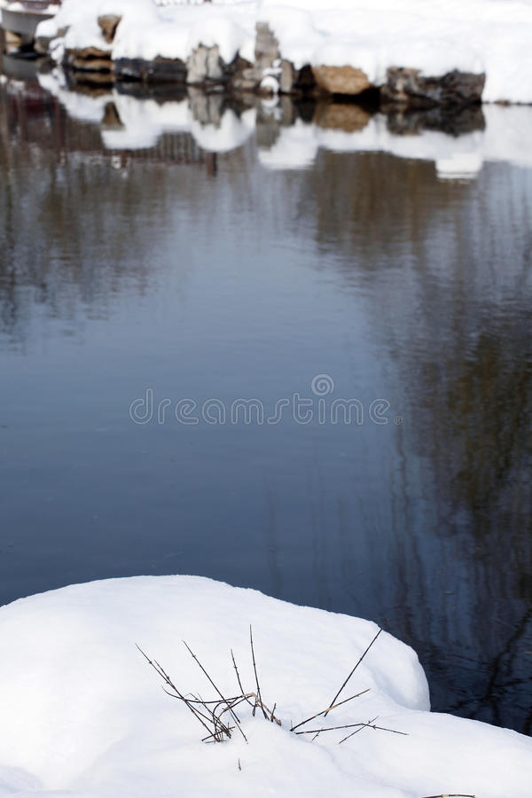The winter snow bank.
