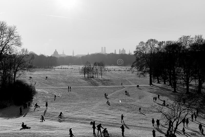 Winter snow in English Garden, Munich royalty free stock image