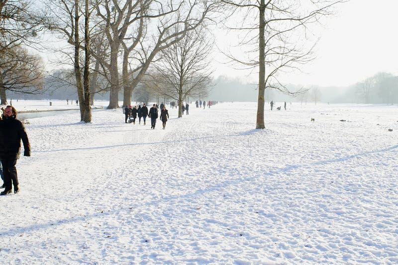Winter snow in English Garden, Munich royalty free stock photos