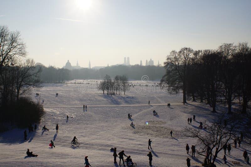 Winter snow in English Garden, Munich royalty free stock photo