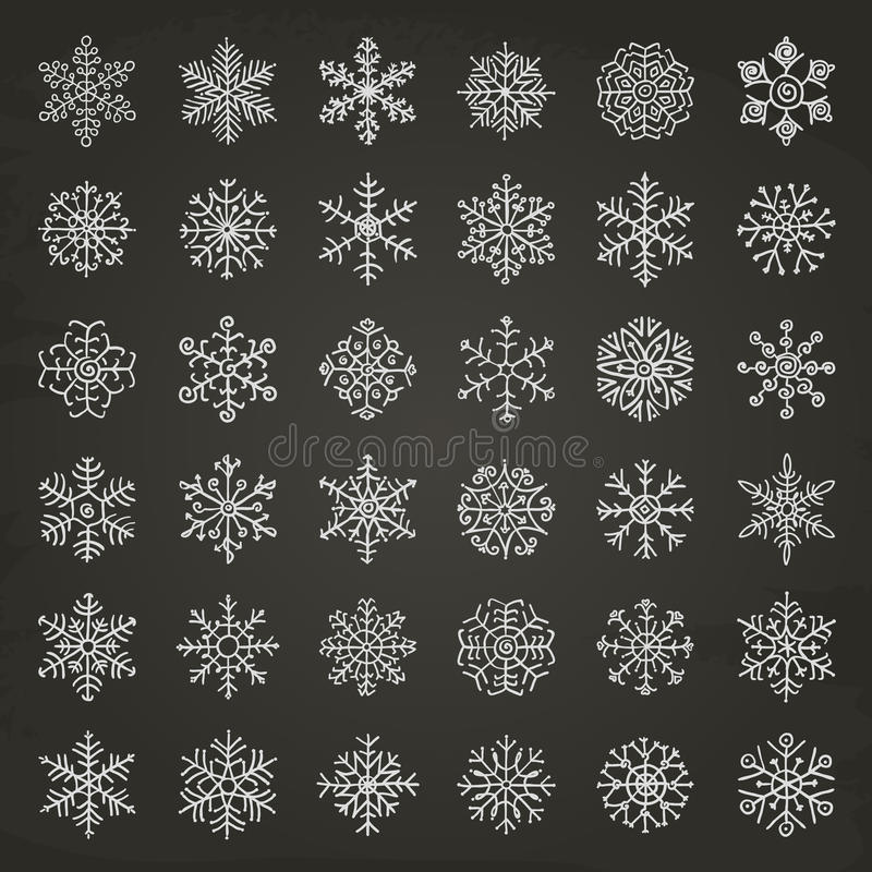 Winter Snow Flakes Doodles stock illustration