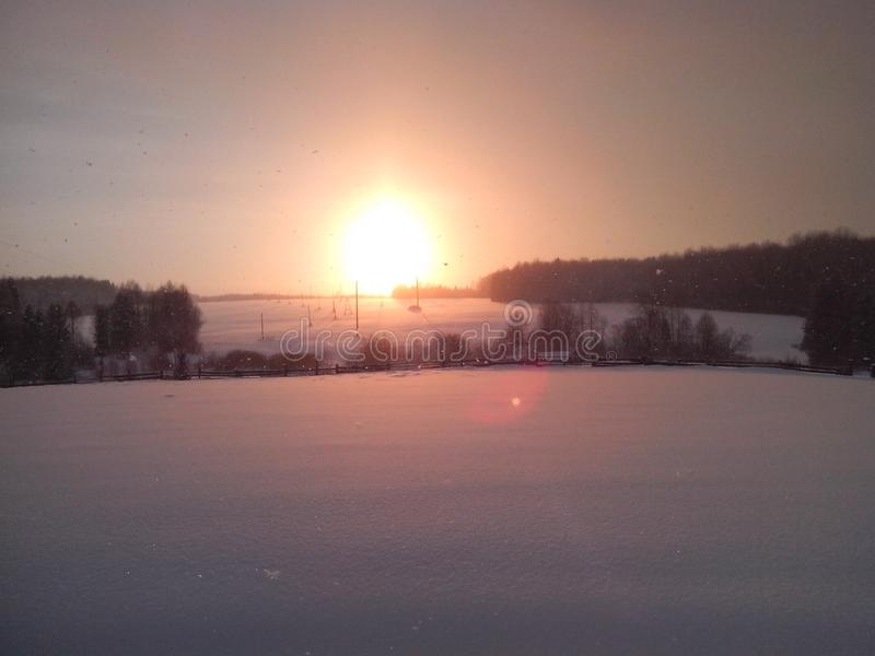winter snow forest sunset royalty free stock images