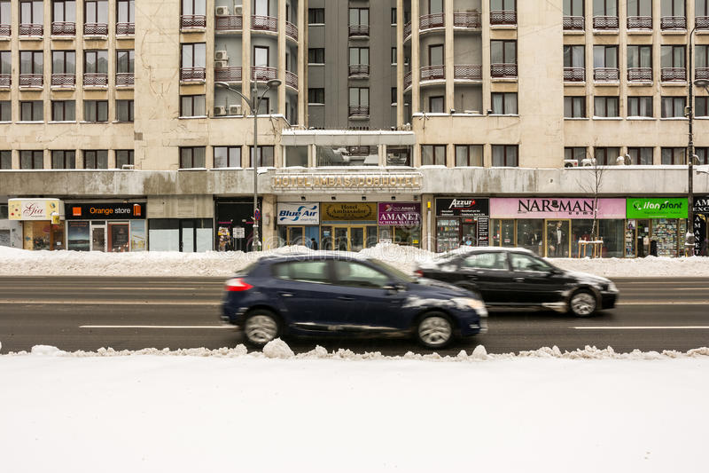Winter Snow On Gheorghe Magheru Boulevard Downtown Bucharest Editorial Photo