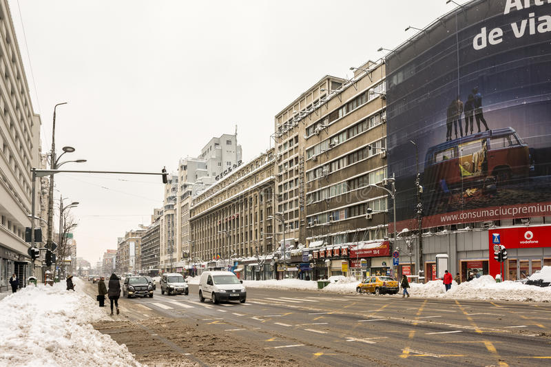 Download Winter Snow On Gheorghe Magheru Boulevard Downtown Bucharest Editorial Image - Image: 37162220