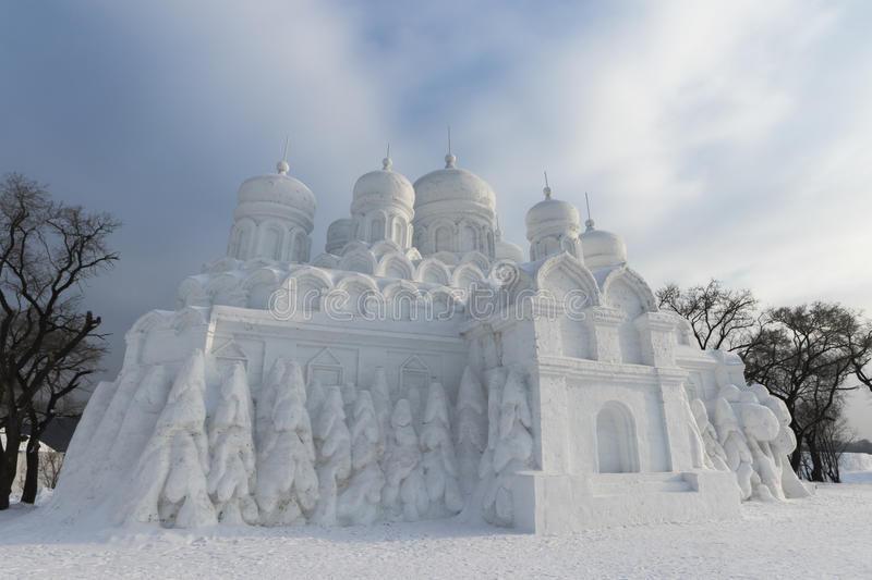 Winter snow and ice sculpture - Castle. Moon lake in changchun, northeast China tourism scenic spot in the snow castle, the castle of the overall grand, carving royalty free stock images