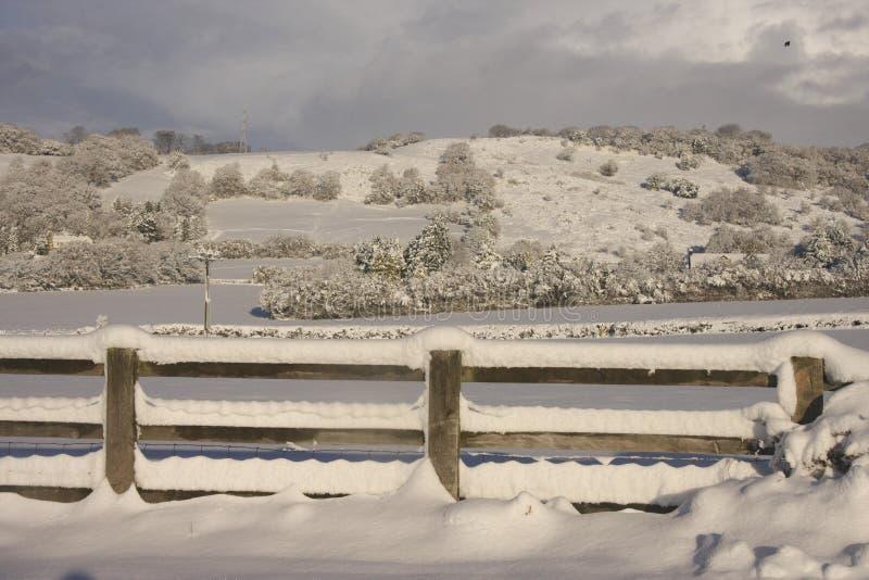 Winter Snow landscape, Cardiff, UK stock photography