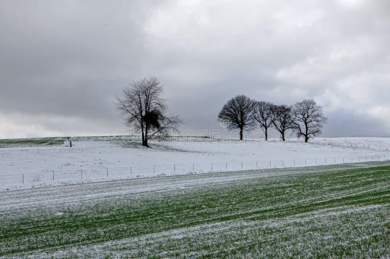 Winter snow landscape, Furfooz, Belgium royalty free stock photography