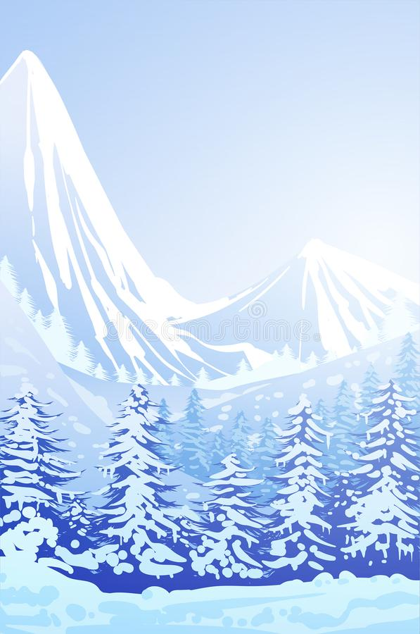 Winter snow Natural pine forest Mountains horizon Landscape wallpaper Illustration vector style Colorful background vector illustration