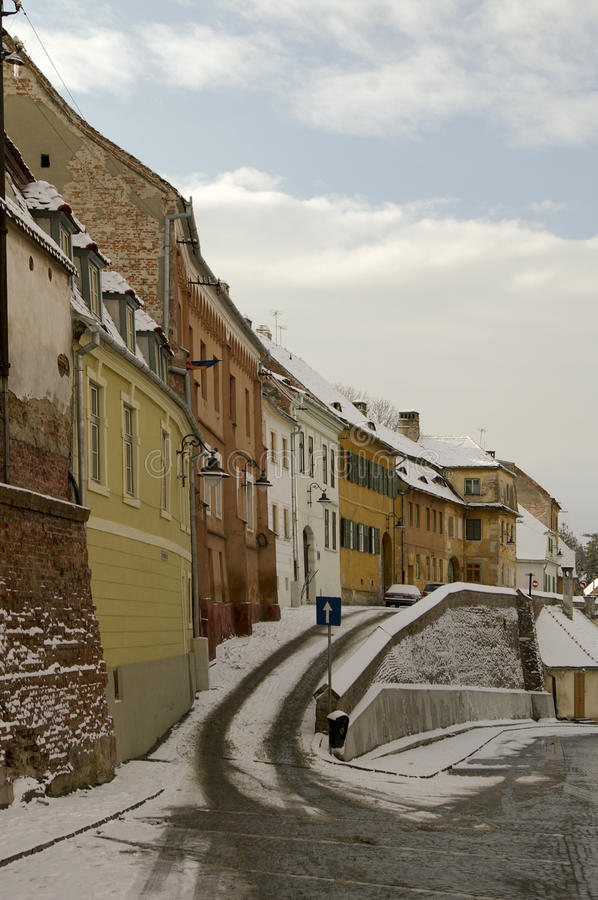 Winter Snow In Old Town Of Sibiu Stock Photography