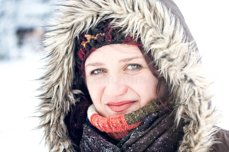 Winter Snow Outdoor Portrait Of Woman Stock Photos