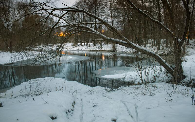 Winter snow park river reflection in night landscape. Night winter park river snow panorama. Winter night river snow view royalty free stock photos