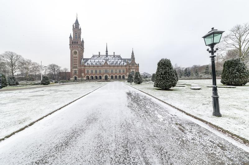 Peace Palace, Vredespaleis, under the Snow stock images