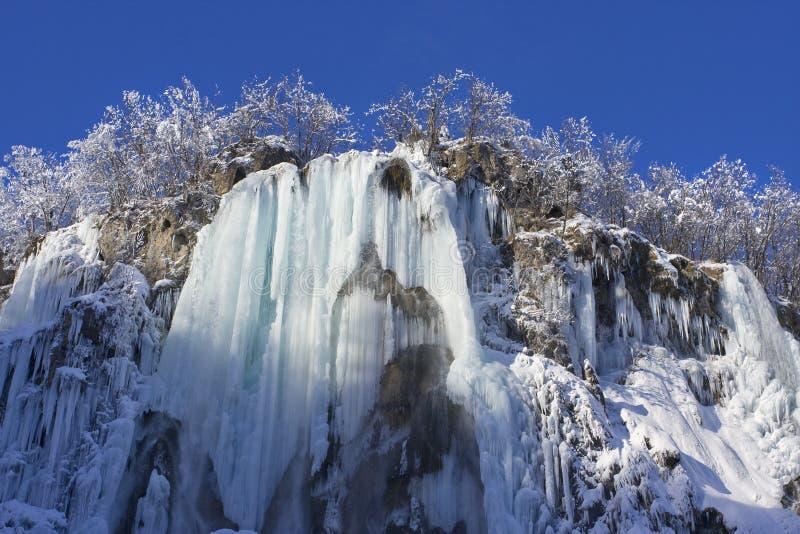 Winter-snow in Plitvice Lakes stock photo
