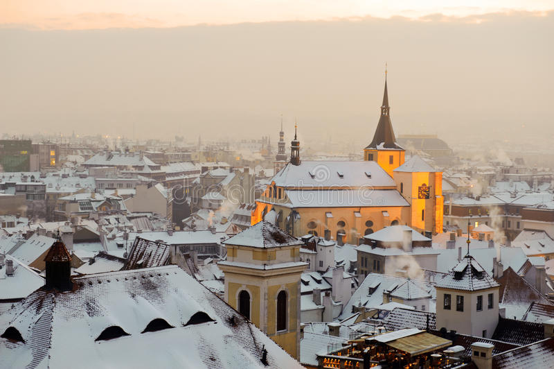 Winter snow Prague at sunrise royalty free stock photos
