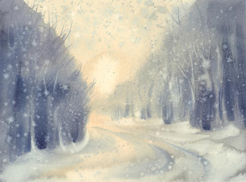 Winter snow road watercolor background. Forest landscape stock illustration