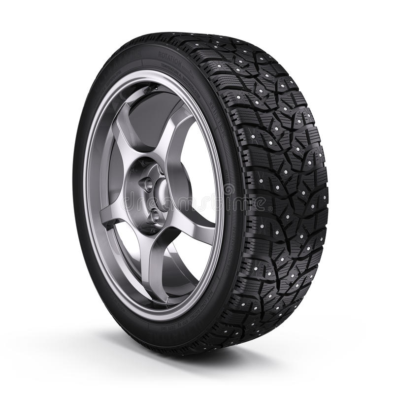 Winter snow tyre with metal spikes on white background. 3d render stock illustration