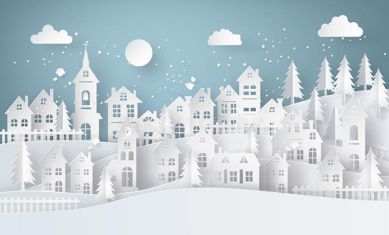 Winter Snow Urban Countryside Landscape City Village with ful lmoon. Paper art and craft style royalty free illustration