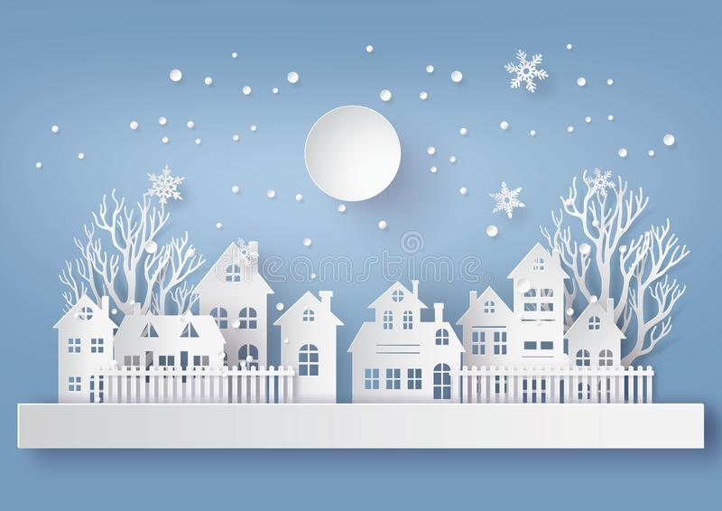 Winter Snow Urban Countryside Landscape City Village with ful lmoon. Winter Snow Urban Countryside Landscape City Village with full moon, Happy new year and vector illustration