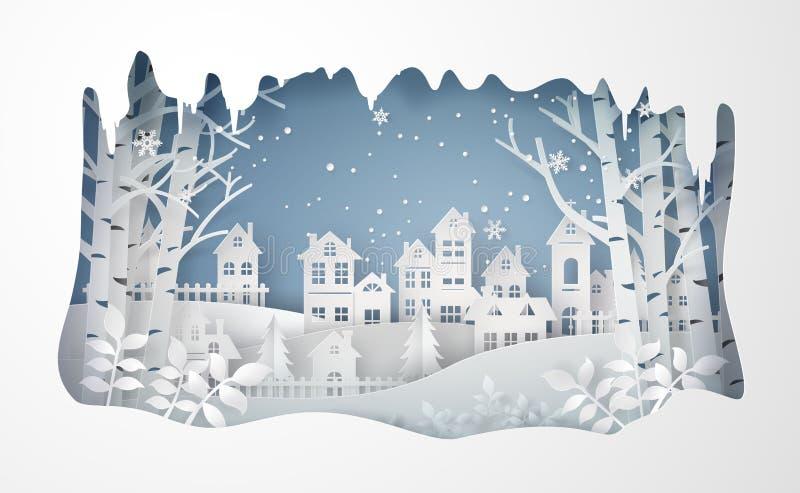 Winter Snow Urban Countryside Landscape City Village with ful lmoon. Winter Snow Urban Countryside Landscape City Village ,Happy new year and Merry Christmas vector illustration