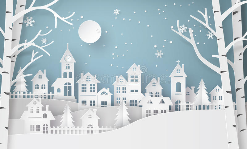 Winter Snow Urban Countryside Landscape City Village. With ful lmoon, Happy new year and Merry christmas, paper art and craft style