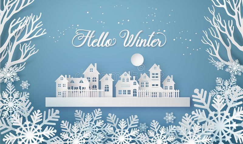 Winter Snow Urban Countryside Landscape City Village with ful lmoon. Winter Snow Urban Countryside Landscape City Village with full moon,Happy new year and Merry stock illustration