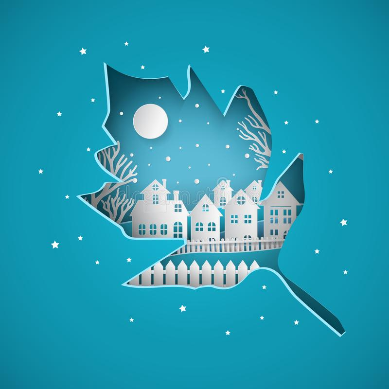 Winter snow urban countryside landscape city village with full moon. Covered by leaf paper cut stock illustration