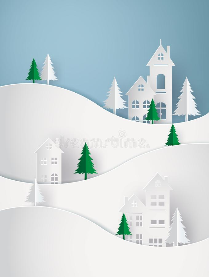 Winter Snow Urban Countryside Landscape City Village with full moon royalty free illustration